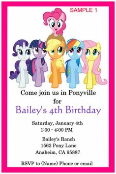 My Little Ponys Birthday Invitation DIY Printable Wording For Invite