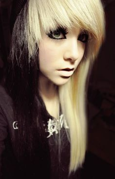 Blonde & black dyed hair. Very cool looking. I actually like this look very cool!!!