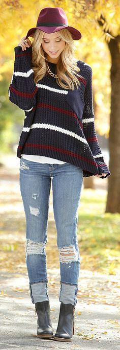 Striped Sweater + Burgundy Fedora