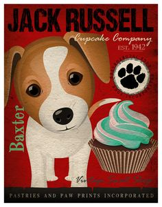 Jack Russell Cupcake Company Original Art Print - Custom Dog Breed Art - 11x14 - Personalize with Your Dog's Name - Dogs Incorporated. $29.00, via Etsy.