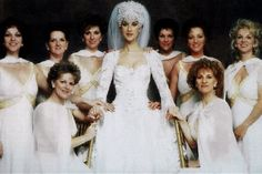 Celine Dion at her wedding with all her sisters.