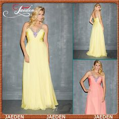 HE133 Deep V-neck Ruched Chiffon Crystals Embellishments Bodice Yellow Prom Gown Evening Dress Plus Size Fashion $97.99
