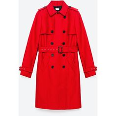 WATER RESISTANT TRENCH COAT - NEW IN-WOMAN | ZARA United States ($50) ❤ liked on Polyvore featuring outerwear, coats, red trench coats, trench coat, red trenchcoat, water resistant trench coat and red coat