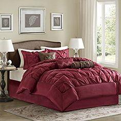 Madison Park Laurel 7 Piece Comforter Set, Queen, Red