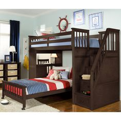 This delectable loft bed with a desk features a bona fide staircase leading to the bunk. A rich chocolate finish on quality woods and veneers is sure to accent any decor.