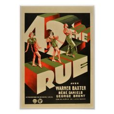 42nd Rue. 42nd Street. French Vintage Movie poster - decor gifts diy home & living cyo giftidea