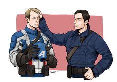 Commission for johanirae. Bucky is smiling at Steve. :)