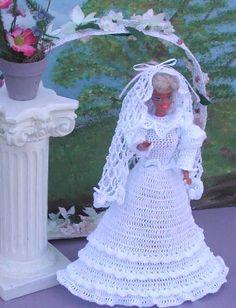 Crochet Fashion Doll Barbie Pattern- #41 WINTER BRIDE