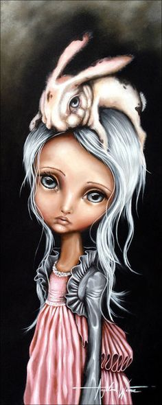 """""""Bunny Couture"""" Angelina Wrona I have loved her art for years. One day I shall own this, it is my favourite because of the bunny. Lewis Carroll, No Ordinary Girl, Wow Art, John Singer Sargent, Pop Surrealism, Stretched Canvas Prints, William Turner, Dark Art, Cute Art"""
