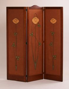 """Gustav Stickley 3-panel screen with Dianne Ayres hand-embroidered panels done exactly like the orginal Harvey Ellis designed panels. Excellent original finish. Signed with red decal. 67.5""""h x 21""""w (each panel)"""
