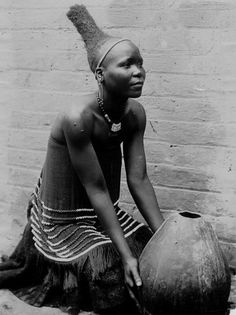 Zulu woman with traditional hair style. South Africa
