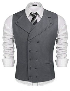 Buy Coofandy Men Suit Vest Solid Double Breasted Slim Fit Business Dress Waistcoat, Gray, Large at Discounted Prices ✓ FREE DELIVERY possible on eligible purchases. Large Men Fashion, Mens Suit Vest, Waistcoat Men Casual, Suit Jacket, Mens Fashion Suits, Man Fashion, Fashion Clothes, Fashion Rings, Fashion Photo