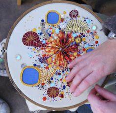 'Sun Junk' work in progress - Hand stitched in silk and gold on Irish linen.