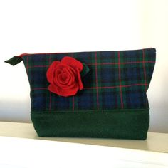 This beautiful wool plaid pouch is created from recycled wool and is the perfect size to hold medium knitting projects like a shawl or childs