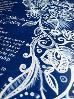 Blue Ketubah  NotSoTraditional Design by Doodlage on Etsy, $130.00