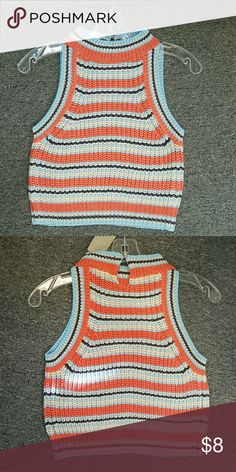 Hint of Mint Women's Striped High Neck Sweater Very beautiful crop top. Goes with any plain short skirt.  Hint of Mint Women's Striped High Neck Sweater Crop Top Coral. Hint Of Mint  Tops Crop Tops
