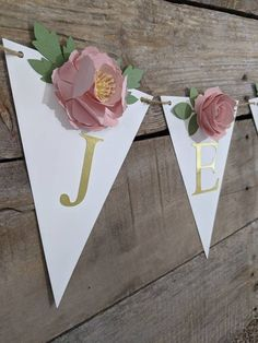 Personalize this beautiful, floral banner with a name or wording of your choice. It makes a unique gift for a mom-to-be and her new babys nursery. Or hang it at a bridal shower for the Future Mrs. Each pennant features a blush peony or rose. --The banner is priced by the number of letters. Please Fake Flowers, Pink Flowers, Staubige Rose, Paper Flower Garlands, Blush Peonies, Floral Banners, Baby Name Signs, Gold Baby Showers, Flower Wall