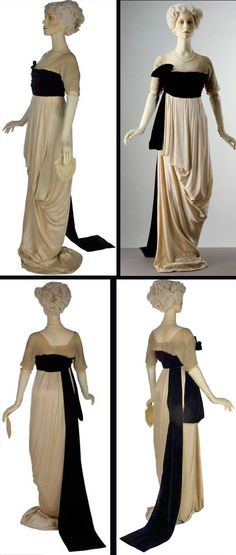 Dress, Lucile, ca. 1912. Satin, trimmed with chiffon and machine-made lace; cummerbund of silk velvet; bodice lined with grosgrain and supported with whalebone. Victoria & Albert Museum