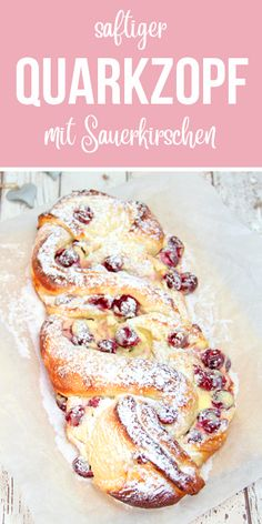 Mega juicy curd cheese with sour cherries. A special yeast braid. Thermomix Re… - apple pie - Mega juicy curd cheese with sour cherries. A special yeast braid. Thermomix Re - Easy Cheesecake Recipes, Easy Cookie Recipes, Dessert Recipes, Quark Recipes, Cheesecake Cookies, Easy Recipes, Food Cakes, Rice Cakes, Sour Cherry