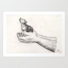 Wolf Cub // Graphite Art Print by Sandra Dieckmann - $18.00