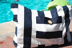 "7. Canvas Beach Bag    Boy, I am loving this nautical bag. Looks store-bought, doesn't it? According to Leanne: ""…this bag is extra big. I can fit 3 towels, tons …"