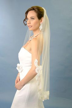 Beautiful! Ansonia Bridal Fingertip Veil 186S with Beaded Lace Edge - Affordable Elegance Bridal -