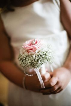 One single pink rose + baby´s breath for the flowergirl - Enniskerry Ireland Wedding from Therese Aherne Weddings