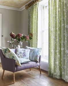 Create a timeless design in your room with our Cherry Blossom design curtains in the Robins Egg colourway. Curtains provide great insulation for the colder months ahead. Prestigious Textiles, Robins Egg, Curtains With Blinds, Timeless Design, Cherry Blossom, Love Seat, Interior Design, Interior Ideas, Indoor