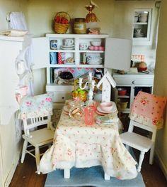 Miniature Dollhouse Shabby Table Tablesetting by RibbonwoodCottage