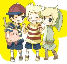 Ness, Lucas, Toon Link, and Kirby.♡