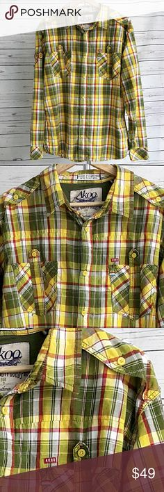 "Akoo yellow plaid embroidered Gunhill Rd shirt/2XL Akoo yellow, green and red plaid button down shirt with patches on arm and extensive embroidery on the back including ""Gunhill Rd""...incredible shirt! Embroidery is in tact and in great condition. Excellent pre-owned condition with no stains or tears.   Size 2XL  Measurements are approximate and taken laying flat: armpit to armpit: 24 3/4"" shoulder to hem: 28 1/2"" shoulder to cuff: 26 1/4""  B9 Akoo Shirts Casual Button Down Shirts"