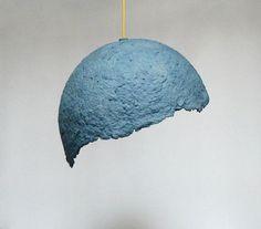 "Paper mache pendant lamp ""Globe azul"", paper pulp hanging lamp, paper lamp shade, modern, eco-friendly, paper lamp,:"