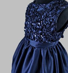 Satin with sequinned bodice. Navy Sequin Dress, Navy Blue Formal Dress, Formal Dresses, Navy Party, Special Occasion Dresses, A Line Skirts, Bodice, Party Dress, Sequins