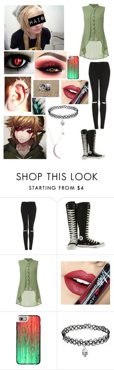 """Ben Drowned//Girl Ver."" by masteremo9099 ❤ liked on Polyvore featuring Topshop, Converse, Fiebiger and Casetify"