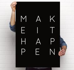 Art Print, Make It Happen, Multiple Sizes, Instant Download PDF OR Poster Print, Quote, Minimalist, Black & White, Office Art, Motivational by BrightAndBonny on Etsy