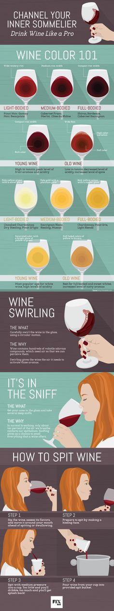Tired of being the wine novice when you're out with friends? now i will be a wine master!You need to swirl, sniff, sip, and spit your way into becoming a sommelier! Wine Tasting Party, Wine Parties, Art Du Vin, Wine Infographic, Wine Facts, Wine Cocktails, Drink Wine, Wine Education, Wine Down