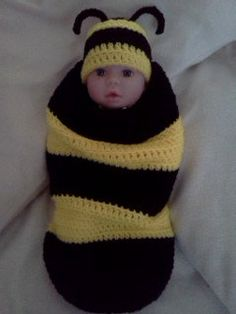 Baby bee cacoon & matching hat set by craftzria on Etsy, $40.00