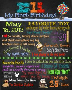 First Birthday Poster - Disney / Pixar Up. $25.00, via Etsy.
