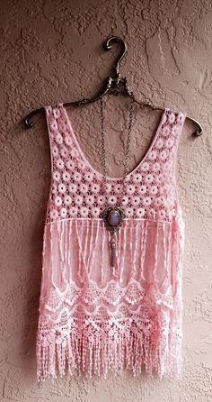 Pink Bohemian Lace and crochet sheer mesh beach camisole coverup gypsy hippie boho chic wedding