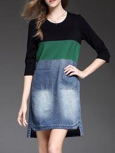 Plain High Low Half Sleeve Denim Paneled Casual Midi Dress Saias Maxi,  Roupa De Praia 10ed4842f372