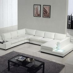tosh furniture modern white leather sectional sofa with builtin light