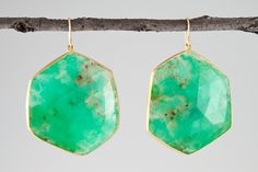 Large Australian chrysophrase earrings