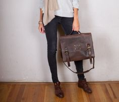 Dirty Harry Leather Bag-Dark Brown