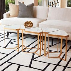 Perfect alone or when multiples are placed in a circular or linear arrangement, our Tri-Hex Tables make a modern statement in your space. The gold leaf finish absolutely glows against the cool white marble tops. Nesting Tables, Wedding Table Numbers, White Marble, Gold Leaf, Living Room, Interior Design, Furniture, House 2, Ali
