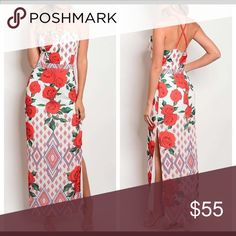 SALE! Today ONLY!!🌹🌹🔥Red maxi dress 🔥🌹🌹🌹 🌹🌹🌹🔥Gorgeous maxi dress! Beautiful red rose print!! Super sexy!! 🔥🌹🌹🌹95% Polyester 5% Spandex Dresses Maxi