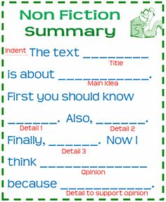 Nonfiction summary template poster sample