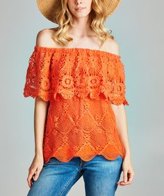 Take a look at this Love, Kuza Coral Lace Off-Shoulder Top today!