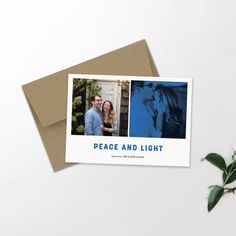 Modern Holiday Card | Peace and Light | Newlyweds | Hannukah | Christmas Card |Typography | Graphic Design
