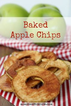 These baked apple chips are so easy to make and are absolutely delicious. They are a great ways to give your kids a healthy snack without reaching for a bag of potato chips!