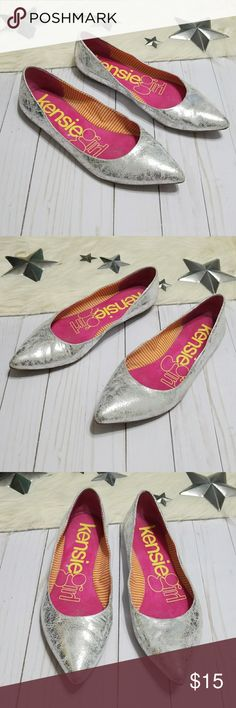 Kensie girl metallic silver flats pointed toe 11 Kensiegirl branded metallic silver Jessie flats. Leather has a distressed look to it. Pointed toes. Leather upper, fabric lining.  Overall good condition with some signs of wear on the bottoms and insoles.  Selling for a friend and she says they are true to size for her. Size 11B / 41 Kensie Girl Shoes Flats & Loafers